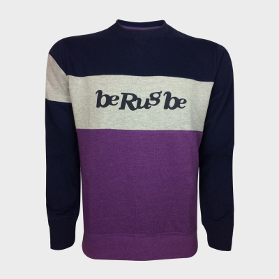 Sweat Molleton - Col Rond - Logo BRB - Berugbe - Prune/Navy