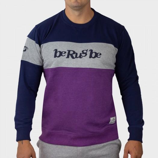 Sweat Molleton - Col Rond - Logo BRB - Berugbe - Prune/Navy