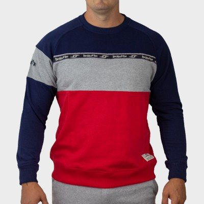 Sweat Molleton - Col Rond - Bande BRB Horizontale - Berugbe - Marine/Rouge